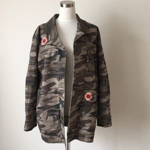 NWT Express Embroidered Camo Military Jacket